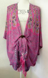 Sarong vest flowerpauw pink/grijs/oker. Symbool van onsterflijkheid. 100% rayon, met sarong knoop.