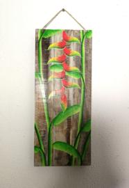 Houten wandpaneel Heliconia (Lobsters Claw). 30,5 x 30,5 x 4 cm. Handwerk uit Ubud, geschilderd op juthout.
