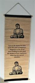 Spreukdoek Buddha.  Op jute geverfd. Afmeting 36 x 98 cm.