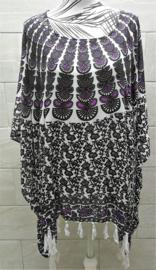 Sarongshirt  Pauw zwart/wit/paars met wijde hals 100% rayon. One size.