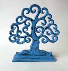 Tree of life vintage blauw. Schitterend Balinees houtsnijwerk. 19x17 cm.