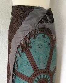 Sarong Mandala XL antraciet/choco/groen.