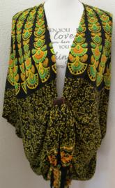 Sarong vest pauw, citroengeel/zwart/multi. Symbool van onsterfelijkheid. 100% rayon, met sarong knoop.