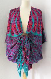 Sarong vest pauw, flamingo/multi. Symbool van onsterflijkheid. 100% rayon, met sarong knoop.