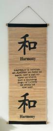 Spreukdoek Harmony.  Op jute geverfd. Afmeting 36 x 98 cm.