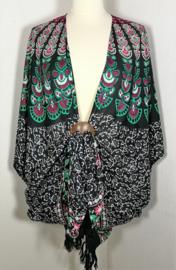 Sarong vest pauw zwart/multi.  Symbool van onsterflijkheid. 100% rayon, met sarong knoop.