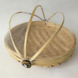 Ronde bamboe natural gaasmand. Met scharnierend net op kokosschroef. Diameter 24 cm.