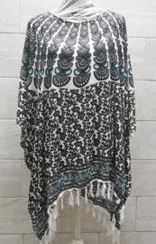 Sarongshirt  Pauw zwart/wit/mint met wijde hals 100% rayon. One size.