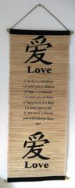 Spreukdoek Love.  Op jute geverfd. Afmeting 36 x 98 cm.