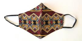Batik mondkapje bordeaux/zand/multi.