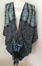 Sarong vest pauw, fluor blauw, zwart, multi. Symbool van onsterflijkheid. 100% rayon, met sarong knoop.