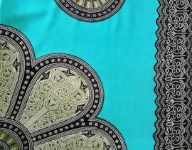 Sarong Mandala, hemelsblauw/zwart/mosgroen.