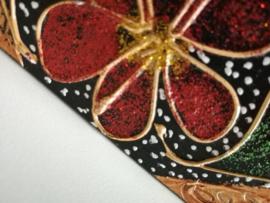 Tissue box. Handbeschilderd Balinees houtwerk. 23x11 x7 cm.