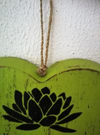Spreukhart vol wijsheid. Vintage bewerkt hout van 24x24 cm. Met ophanglus.