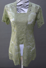 Traditionele Balinese kanten Kebaya korte mouw zacht groen. Bovenwijdte tot 90 cm,  taille tot 86 cm. Ned. maat 38-40. 100% elastische kanten rayon.