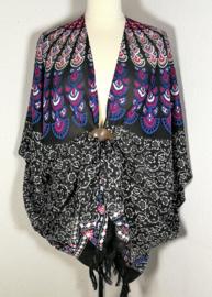 Sarong vest pauw zwart/blauw/multi. Symbool van onsterflijkheid. 100% rayon, met sarong knoop.