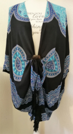Sarong vest Mandala 'Circle of Life', kleur keelchakra. 100% rayon, met sarong knoop.