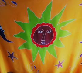 Kinder sarong 'zonnetje'. Limited Edition. Deze vrolijke Bali batik sarong uit Dian's boetiek. 120x170 cm met sarongknoop. 100 % rayon.