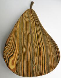 Balinees hapjes schaaltje peer, met zand beschilderd hout. Wondermooie tekening. 19x13 cm