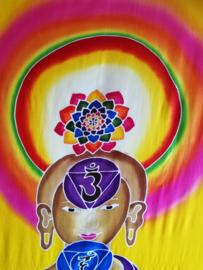 Wandkleed met de zes armige Boeddha van Compassie. Avalokiteshvara is de Boeddha van het grote mededogen, van de oneindige compassie met alle levende wezens. 1.75 bij 1.15 m. Met brede tunnel voor bevestiging ophangmateriaal.