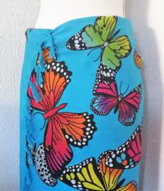 Sarong Bali kupu-kupu blauw. Symbool voor transformatie.115 x 160 cm. 100% rayon (kunstzijde) wasbaar op 30 graden. Met sarongknoop.