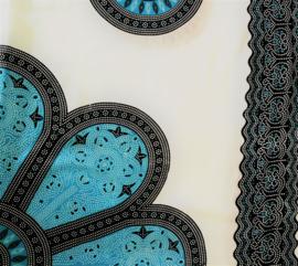 Sarong Mandala,blauw tinten/zwart/wit.