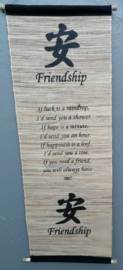 Spreukdoek Friendship. Op jute geverfd. Afmeting 36 x 98 cm.