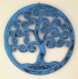 Tree of life vintage zachtblauw. Schitterend Balinees houtsnijwerk. Diameter 40 cm. Met ophanghaakje.