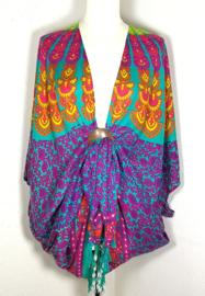 Sarong vest pauw multi color.  Symbool van onsterflijkheid. 100% rayon, met sarong knoop.