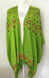 Sarong vest flowerpauw. Appelgroen/multi. 100% rayon, met sarong knoop.