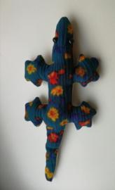 Lief Gekko knuffeltje in vrolijk gekleurd stoffen Balinees batik zakje