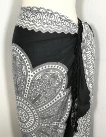 Sarong Mandala, zwart/wit.