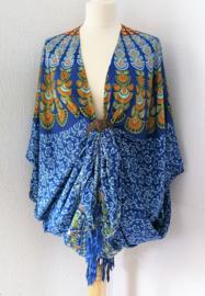 Sarong vest pauw, blauw tinten/olijf/oranje. Symbool van onsterflijkheid. 100% rayon, met sarong knoop.