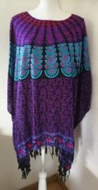 Sarongshirt  Pauw met wijde hals 100% rayon. One size. ( wijdte 1.90 lengte 79 cm.)