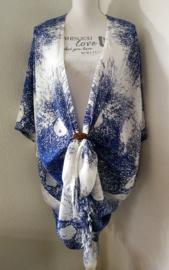 Sarong vest schimmenspel hemelsblauw/wit. 100% rayon, met sarong knoop