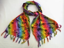 Chakra libelle sjaal. Lengte 93 cm, breed 40 cm. 100% rayon, wasbaar op 30 graden.