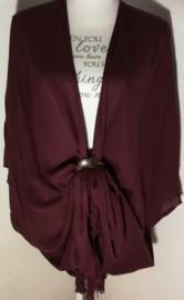 Sarong vest bordeaux. 100% rayon, met sarong knoop.