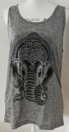 Lord Ganesha hemdje grijs S. Lang model, met wijde armsgaten. Met gedrukte print.