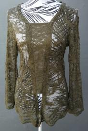 Traditionele Balinese kanten Kebaya olijfgroen. Ned. maat 38. Bovenwijdte tot 90 cm.Taille tot 80 cm. Mouwlengte 52 cm. 100% elastische kanten rayon.