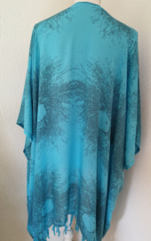 Sarong vest schimmenspel aqua/grijs. 100% rayon, met sarong knoop.