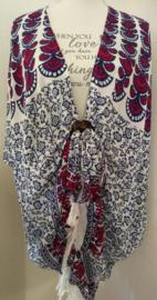 Sarong vest pauw, kobalt blauw/wit/roze-rood . Symbool van onsterfelijkheid. 100% rayon, met sarong knoop.