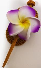 Knot speld. Bali rotan handwerk. Met paarse frangipani bloem.