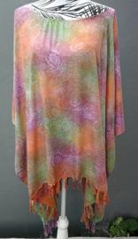 Sarongshirt mandala in pastel tinten met wijde hals, 100% rayon. One size.