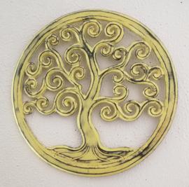 Tree of life vintage zacht geel. Schitterend Balinees houtsnijwerk. Diameter 40 cm. Met ophanghaakje.