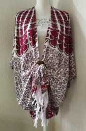 Sarong vest pauw, rode kool/wit.  Symbool van onsterflijkheid. 100% rayon, met sarong knoop.