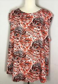 Mouwloze top. Paisley oranje/zwart, met ronde zoom. Lengte 69 cm, bovenwijdte 128 cm, heup 142 cm, 100% rayon. Maat 50 t/m 54.