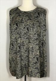 Mouwloze top Bali blad zwart/beige, met ronde zoom. Lengte 71 cm, bovenwijdte 118 cm, heup 146 cm, 100% rayon. Maat 46 t/m 50.