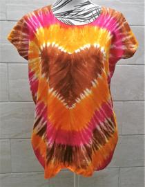 Hartenshirt tie dye batik. 1.04 cm wijd, 66 cm lang. Maat 36 - 42, 100% rayon.