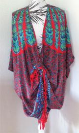 Sarong vest  pauw rood/blauw/groen. Symbool van onsterfelijkheid. 100% rayon, met sarong knoop.