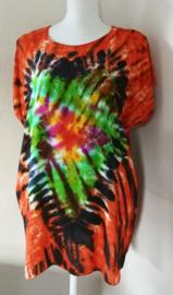 Kleurrijk shirt tie dye Bali, wijdte 126 cm, lengte 74 cm. 100% rayon. Maatbereik 36 t/m 46.